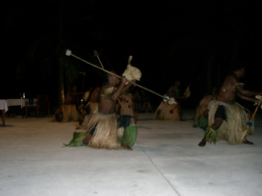This photo was taken during our first visit to Fiji, in May 2010. The resort has activities every evening, and this was a demonstration of a traditional Fijian dance.