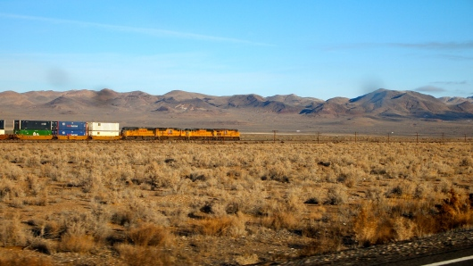 Train along BNSF tracks, where Hwy 95 meets I-80