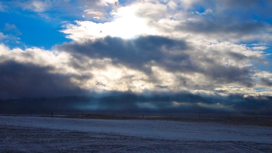 More snow and clouds in the mountains of Wyoming