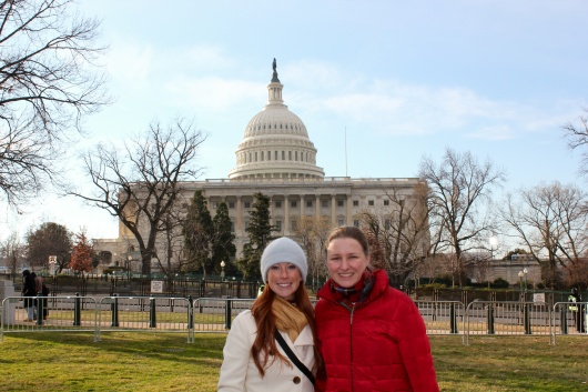 Meg and Charlotte bundle up for the Inauguration festivities