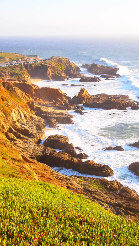 Looking south along the coast, toward the Bodega Head parking lot and whale watching area.