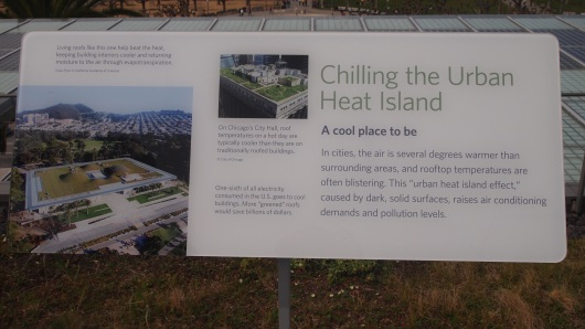 "Placard at the California Academy of Sciences rooftop observation deck describing the ""Heat Island Effect"""