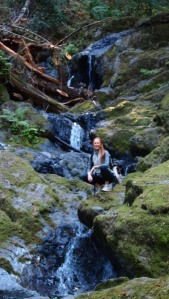 Meg at one of the lower waterfalls on the Cataract Fall Trail.