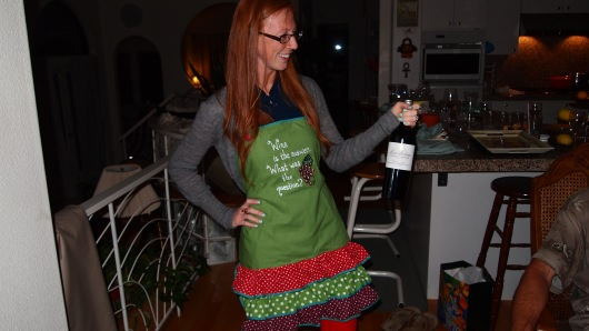 When you turn 30, you get to wear bright red pants and a fun apron.
