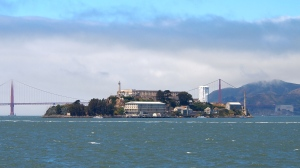 Alcatraz Island - View from the ferry in San Francisco Bay.
