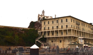 Building 64 and the Warden's House on Alcatraz Island - View from the docks.