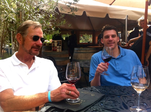 Tio and Jake, enjoying wine on the patio.