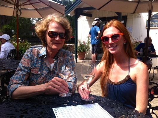 Auntie Carol and Meg enjoying the sun outside at the Cline Pendulum Club.