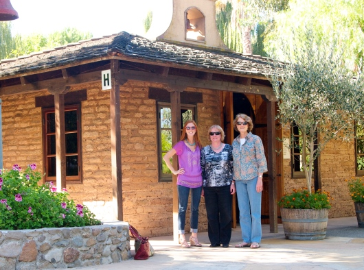Meg, Jane and Auntie in front of the mission at Cline Cellars