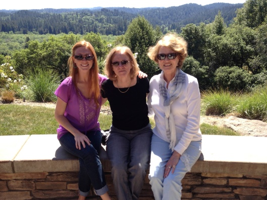 Meg, Ann and Carol (Auntie) out in the wine country in April 2013.